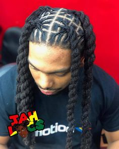 """I finally got to try something a little different ! He always gets his … I finally got to try something a little different ! He always gets his signature loc style """"plaits """" so I figured we switch it up… Dreads Styles, Men Dread Styles, Mens Dreadlock Styles, Braid Styles, Braids For Boys, Braids For Short Hair, Toddler Braids, Side Braids, Curly Hair"""