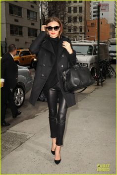 Helmut Lang Skinny Leather Pants, Alexander Wang London Sunglasses, Givenchy Wool-Blend Double Breasted Coat, Givenchy Antigona Duffle, Manolo Blahnik BB Satin Point-Toe Pumps, The Row Cromer Chunky Sweater