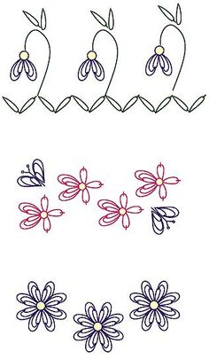 (43,45,46) (SHE USES 43 2X) Individual motifs can simply be worked in rows as I have illustrated in these diagrams. In these examples TRIPLE CHAIN was used to create motifs.  Experiment and enjoy! Sharon Boggon