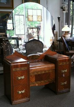 1930 1940 S Art Deco Wood Inlay Vanity Dressing Table With