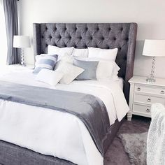The Benefits Of Grey Upholstered Bed Decor Color Schemes Colour 57 Bedding Master Bedroom, Small Room Bedroom, White Bedroom, Home Decor Bedroom, Bedroom Ideas, Small Rooms, Bedroom Styles, Grey Upholstered Bed, Upholstered Headboards