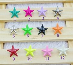 50pcs of Punk Rivet Star Colorful Rivet Star Studs Star Rivet 15mm for Case Deco / Leather Craft / Jean Button RD08 -12 colors for choice