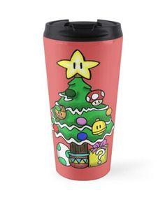'Super Mario - Mushroom Kingdom Christmas (Old)' Travel Mug by ZeroInsignia Mug Designs, Sell Your Art, Super Mario, Travel Mug, Mushroom, Cyber, Finding Yourself, Iphone Cases, Christmas Decorations