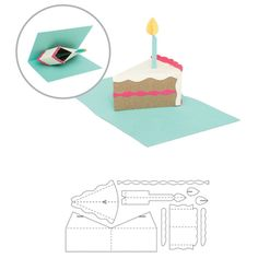 """This package contains nine dies that measure approximately .75"""" x 1"""" to 3"""" x 7"""" and one magnetic zipper pouch. Design: Pop Up Birthday Cake. It is packaged in a magnetic zipper pouch for easy storage."""