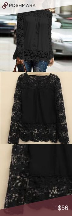 """Beautiful black lace long sleeve blouse  Super cute blouse and very versatile. Made out of chiffon materials and lace. The lace has s cute flora design to it. MEASUREMENTS: MEDIUM- shoulder: 15"""" bust:35.4"""" sleeve:25"""" length: 26"""" ❤️ Tops Blouses"""