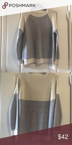 Stitch Fix sweater New, never worn. Gray & Cream colorblock raglan sweater. Sweaters Crew & Scoop Necks