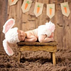 Bunny crochet knitting set hat and diaper baby photography props handmade…