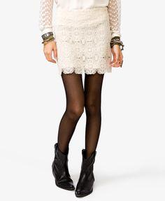 Scalloped Crochet Mini Skirt | FOREVER21