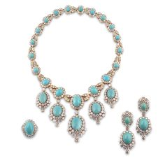 VAN CLEEF & ARPELS. A turquoise and diamond 'Duchesse' suite. Comprising; a necklace composed of nineteen turquoise cabochons within borders of brilliant-cut diamonds, between stylised foliate diamond-set links, the front five links each suspending a cabochon turquoise drop within a similar border embellished with a fringe of diamonds centering on a diamond-set tear-drop, 1973, signed Van Cleef & Arpels and numbered 11911, French assay marks, VCA house mark and French maker's mark