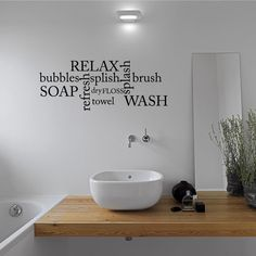 Bathroom Wall Decal Word Cloud Sticker Bath Art Quotes Decor Quote Qu427