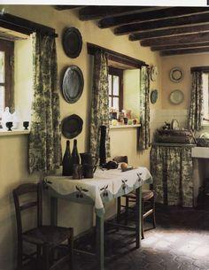 green toile kitchen
