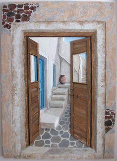 Open Doors by Stella Petropoulou - Greek Artist Online Gallery, Santorini, Greek, Inspire, Doors, Fine Art, The Originals, Artist, Inspiration