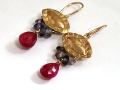 HOLIDAYS SALE  Gold Ruby Dangle Earrings by rioritajewelry on Etsy