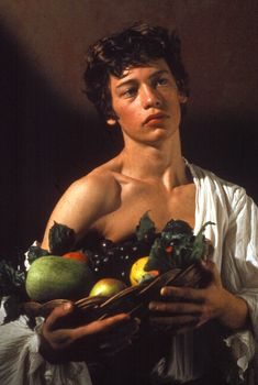 """Boy w/ a Basket of Fruit"" -- 1593 -- Caravaggio -- Italian -- Oil on canvas -- Borghese Gallery, Rome"