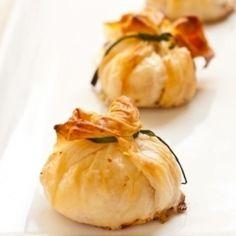 Creamy herb shrimp stuffed mushroom purses