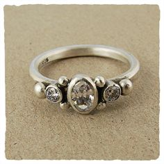 Oxidized White CZ Collection Ring