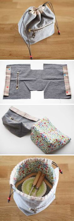 DIY project to make a handmade drawstring bag, lunch box bag, and a small pouch. - DIY project to make a handmade drawstring bag, lunch box bag, and a small pouch. Sewing tutorial in - Sewing Hacks, Sewing Tutorials, Sewing Crafts, Sewing Tips, Sewing Box, Diy Crafts, Fabric Bags, Fabric Scraps, Sew Bags