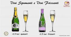 Vini spumanti e frizzanti-Gli spumanti Per definizione,gli spumanti sono vini nei quali è presenteanidride carbonica discioltache genera una sovrapressione di almeno3,5 atmosfereassolute all'interno della bottiglia. Nel momento in cui si stappa la bottiglia, la caduta di pressione crea l'effetto dell'effervescenza, ossia un forte