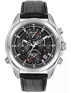 Bulova Precisionist Men's Chronograph Watch In Stainless Steel W/black Leather Strap Big Watches, Casual Watches, Cool Watches, Watches For Men, Bulova Mens Watches, Mens Watches Leather, Cheap Designer Watches, Bulova Accutron, Casio Watch