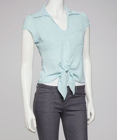Take a look at this Aqua Tie-Waist Button-Up by Jun & Min on #zulily today!  $17.99, regular 39.00