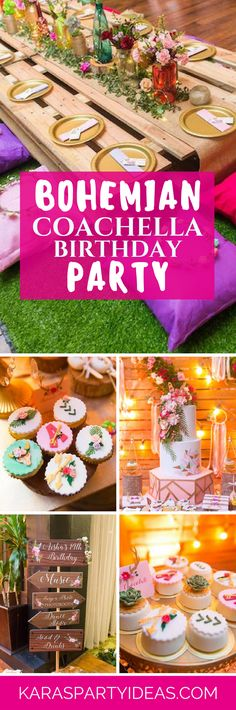 Bohemian Coachella Birthday Party via Kara's Party Ideas - KarasPartyIdeas.com