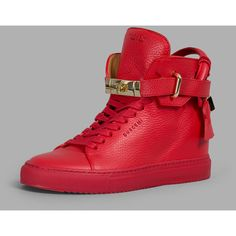 Buscemi Sneakers ($500) ❤ liked on Polyvore featuring shoes, sneakers, red, wedges shoes, red trainer, wedge sneakers, red shoes and leather high tops