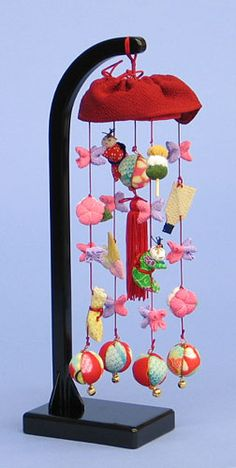 つるし飾り 8号豆千代 台付き Hina Matsuri, Hina Dolls, March 3rd, Girl Day, Nursery Themes, Wind Chimes, Japanese, Outdoor Decor, Flowers