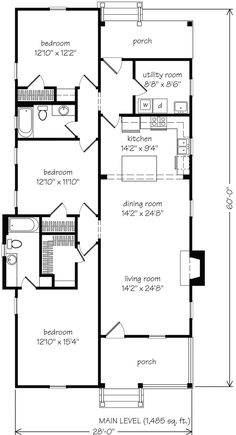 2 Schlafzimmer Shotgun House Pläne Luxus Pine Haven John Tee Architekt – Bedroom plans - Grundrisse Best House Plans, Dream House Plans, One Floor House Plans, Small Floor Plans, The Plan, How To Plan, Shotgun House Plans, Narrow House Plans, Small Bungalow
