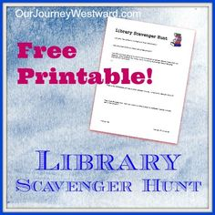 Love this idea! Library Scavenger Hunt