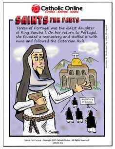 Saints Fun Facts - St. Teresa of Portugal by Catholic Shopping .com | Catholic Shopping .com FREE Digital Download PDF