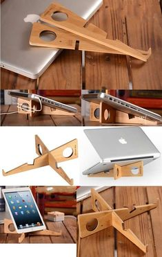 Wooden Crafts Portable Foldable Bamboo Wooden Desktop MacBook Laptop Folding Stand Holder iPad iPhone Smart Phone Stand Holder Power Charging Cord Cable Organizer for Apple MacBook Tablets iPad PC Laptop Macbook Laptop, Laptop Desk, Laptop Bags, Cnc Projects, Diy Furniture Projects, Laptop Wallpaper Desktop Wallpapers, Wooden Laptop Stand, Diy Laptop Stand, Laptop Cooling Stand