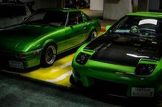 Wankel Green Apple SA22C & FC3S Duet at Umihotaru Parking Area..