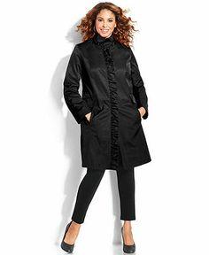 DKNY Plus Size Ruffle-Trim Trench Coat - Plus Size Coats - Plus Sizes - Macy's