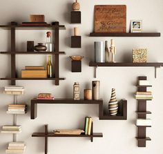 Furniture, Wall Mounted Shelf With Wooden Of Image Of An Good Article With Theme About Creative Wall Shelves With Awesome Design Of Creative Wall Shelves With Some Color And Some Interior With Some Books And Another Things So Awesome Shel ~ Creative Wall Shelves With Some Models For All Rooms In Home
