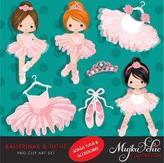 Little Ballerinas and Pink Tutus! This adorable set comes with 14 high quality graphics featuring cute little characters wearing pink tutus and tiaras. Set includes 8 little ballerina graphics, Pink tutus, pink ballet shoes, ballet school frame and tiaras. Perfect for invitations, party printables and embroidery.  Contains 14 high quality Cliparts Format: 300 DPI transparent PNG files Size: Most cliparts are saved around 6,7 inches tall  ** Find all PARTY PRINTABLES for this set here…