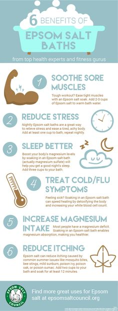 Epsom salt baths have tons of great benefits for your health. Find more at epsomsaltcouncil.org
