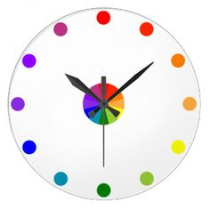 Numberless|RYB|色|車輪|時計3 ウォールクロック