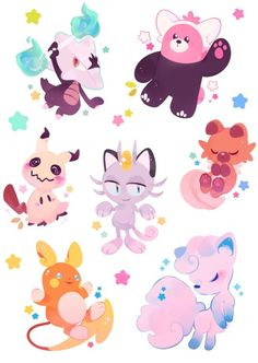 I put the charm designs together and made an Alolan Pokemon sticker sheet !! They're available on my tictail + etsy :3 ♥️