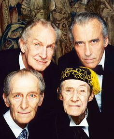 Christopher Lee, Vincent Price, Peter Cushing and John Carradine in a publicity still for Pete Walker's 1983 comedy horror 'House of the Long Shadows' which starred all four actors. Photo by Terry O'Neill.