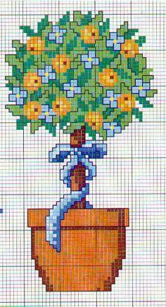 Schema punto croce Fiori Albero