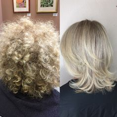 Before and after! Brazilian blowout, creamy blonde, short hair, curly, straight, short layers