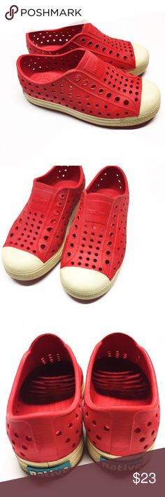 Red Native shoes kids 11 Red native Sneakers. Possibly the best summer shoes for kids. Size 11. Red color with off white tan bottoms. Native Shoes Sneakers