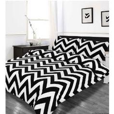 single bed duvet quilt cover bedding set zig zag black white striped