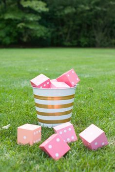 DIY Yahtzee: http://www.stylemepretty.com/2015/09/03/diy-yard-games-as-seen-on-the-today-show/