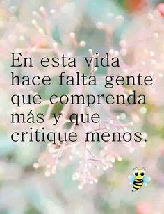 Comprender mas y criticar menos.
