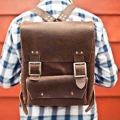 Handmade leather rucksack