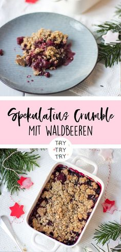 Christmas Speculoos Crumble with Berry . - Christmas speculoos crumble with berries - Easy Snacks, Easy Healthy Recipes, Sweet Recipes, Healthy Snacks, Snack Recipes, Easy Meals, Berry Crumble, Smoothie Recipes, Cake