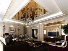 wohnzimmer einrichten glänzende decke tv sofa tisch
