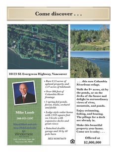 New Listing! Real Estate for Sale: $2,000,000-2 Bd/2 Ba Three Level Lodge Style Cedar Mountain & River View Home on 11.42 Acres with Ponds & River Frontage at: 18123 SE Evergreen Hwy, Vancouver, Clark County, WA! Area 27. Listing Broker: Mike, Windermere Stellar, Vancouver, WA! #realestate #newlisting #vancouverrealestate #fisherslandingeast #threelevel #lodgestylehome #cedarlodge #acreage #waterfront #riverfrontageacreage #mountainviews #riverviews #mike #windermerestellar
