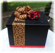 Wedding CARD BOX Leopard Ribbon Anniversary Wishing Well Keepsake Box Money Box  CUSTOMIZE Your Colors. $80.00, via Etsy.